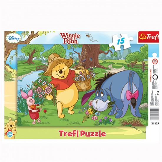 Puzzle 15 pièces : Winnie et ses amis cueillent des fleurs - Trefl-31129