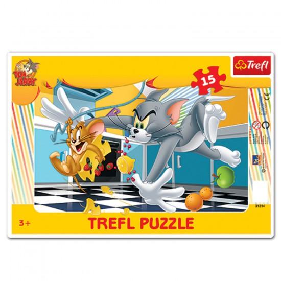 Puzzle 15 pièces Tom et Jerry : En cuisine - Trefl-31214