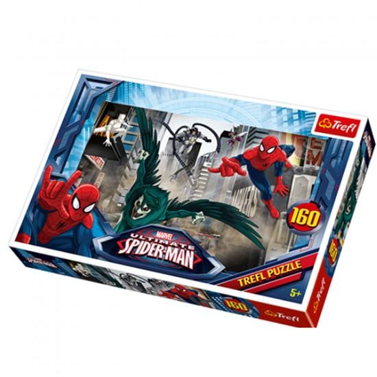 Puzzle 160 pièces Spiderman : La chasse aux méchants - Trefl-15319
