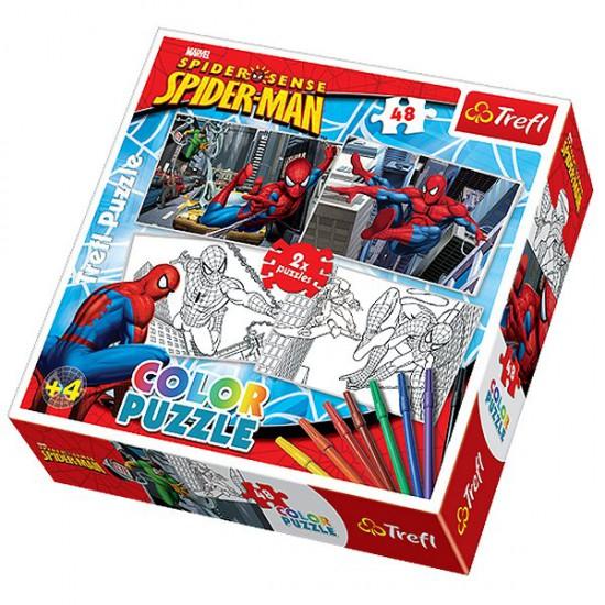 Puzzle 2 x 48 pièces - Spiderman : Color puzzle - Trefl-36506