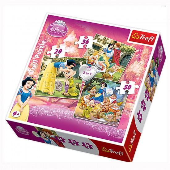 Puzzle 20 à 50 pièces : 3 puzzles : Blanche Neige et les 7 nains - Trefl-34038