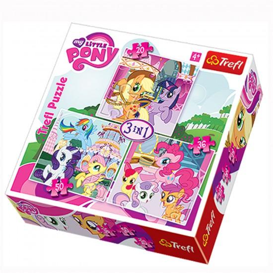 Puzzle 20 à 50 pièces : 3 puzzles : Mon petit poney - Trefl-34190