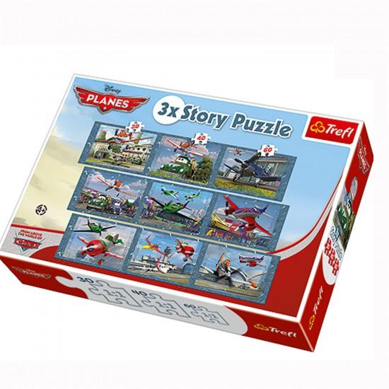 Puzzle 30 à 60 pièces : 3 puzzles Story : Planes - Trefl-90306