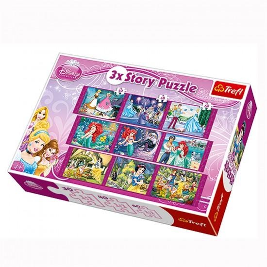 Puzzle 30 à 60 pièces : 3 puzzles Story : Les princesses Disney - Trefl-90303