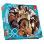 Puzzle 300 pièces rond - Chevaux