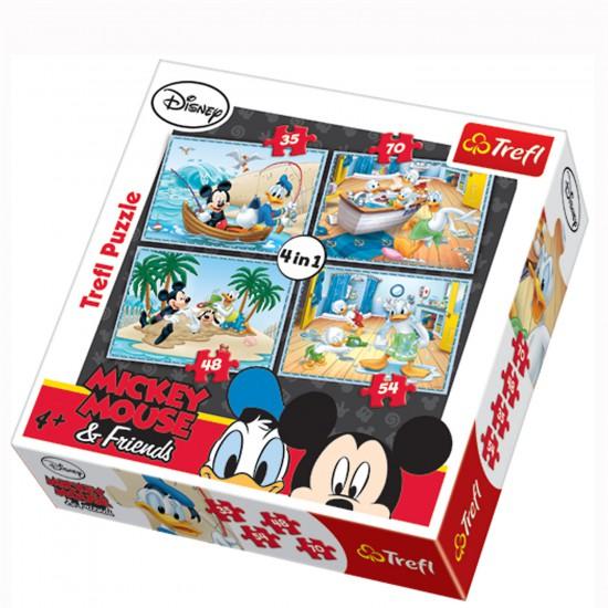Puzzle 35 à 70 pièces : 4 puzzles : Folies aquatiques de Mickey et ses amis - Trefl-34118