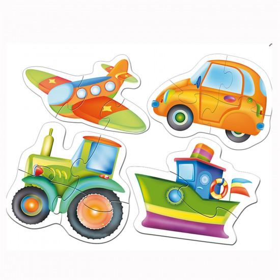Puzzle 4 x 2 à 4 pièces : Baby puzzle : Les véhicules - Trefl-36013