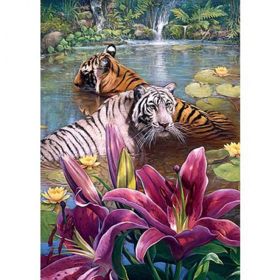 Puzzle 500 pièces - Tigres au bain - Trefl-37137