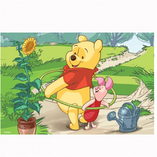 Puzzle 54 pièces Mini : Winnie l'ourson : Winnie et Porcinet font du Hula Hop - Trefl-54108-19402