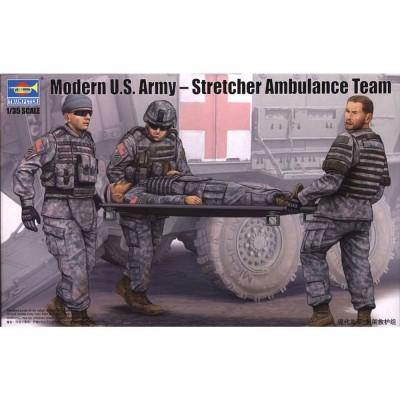Figurines pour maquettes : Set équipe médicale avec civière, Armée US 2012 - Trumpeter-TR00430