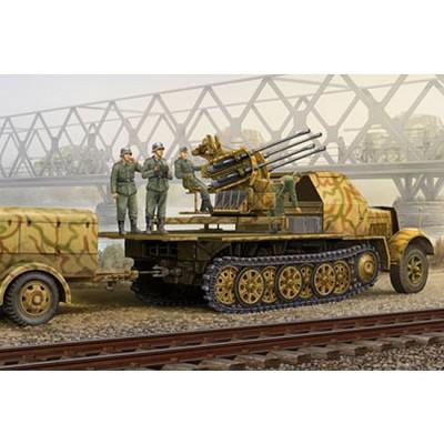 Maquette Half-track : 2cm FlaK 38 Flakvierling auf Selbstfahrlafette: Sd.Kfz. 7/1 version tardive - Trumpeter-TR01524