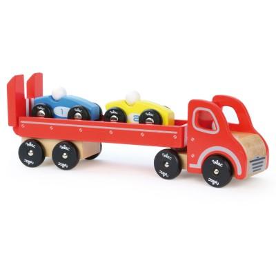 Camion porte voitures avec 2 v hicules vilac le lutin - Voiture avec portes laterales coulissantes ...