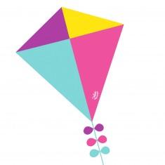 Cerf-volant losange : Rose, bleu, jaune et violet