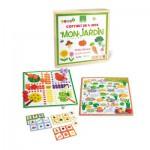 Coffret de 4 jeux en bois : Mon jardin : Petits chevaux, jeu des échelles, loto, mémo