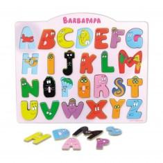 Encastrement 26 pièces en bois : Alphabet bilingue Barbapapa