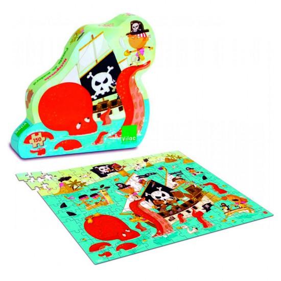 Puzzle 150 pièces en bois : Bateau pirate - Vilac-2612