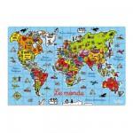Puzzle 150 pièces en bois : Carte du monde en valise
