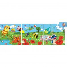 Puzzle 3 x 12 pièces en bois : Drôles de petites bêtes