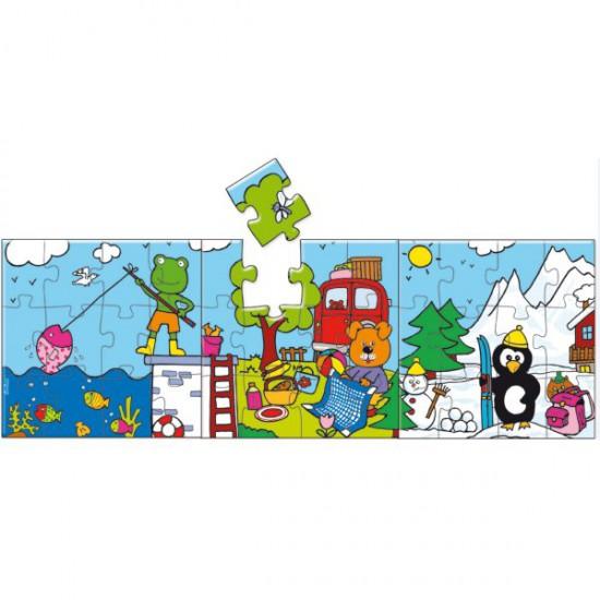 Puzzle 3 x 12 pièces en bois : 3 puzzles des vacances panoramiques - Vilac-2525