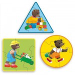 Puzzle 3 x 5 pièces en bois : Petit Ours brun