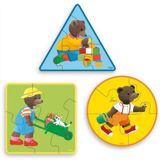 Puzzle 3 x 5 pièces en bois : Petit Ours brun - Vilac-6019