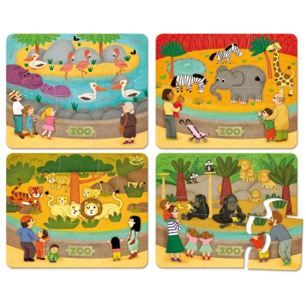 Puzzle 4 x 6 pièces : Les animaux du zoo - Vilac-2642