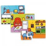 Puzzle 4 x 6 pièces en bois : La maison