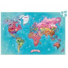 Puzzle 500 pièces : Carte du monde poétique