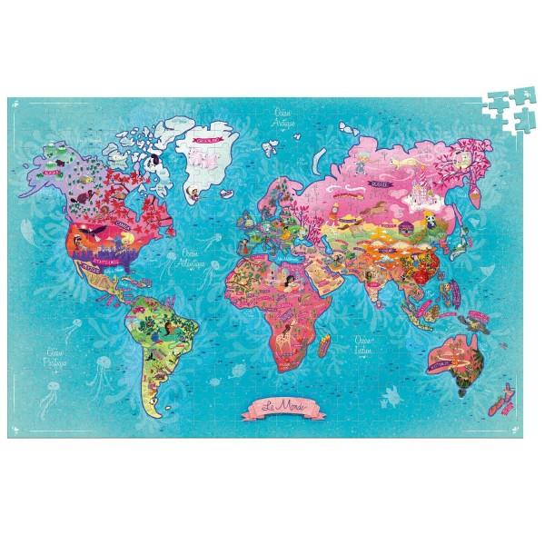 Puzzle 500 pièces : Carte du monde poétique - Vilac-2724