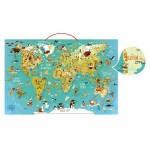 Puzzle 78 pièces magnétique en bois : Carte du monde fantastique