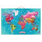 Puzzle 78 pièces magnétique en bois : Carte du monde poétique
