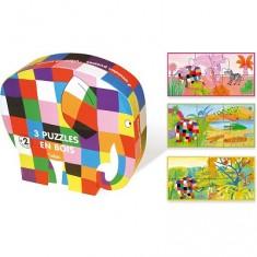 Puzzles à 3 à 6 pièces en bois : 3 puzzles : Elmer