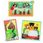 Puzzles de 16 à 35 pièces en bois : 3 puzzles : Les contes