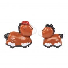 Véhicule Tut Tut Animo Duo : Rafale, le papa cheval et son bébé