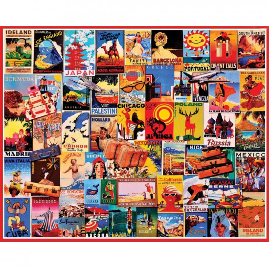 Puzzle 1000 pièces : Cartes postales du monde - White-898