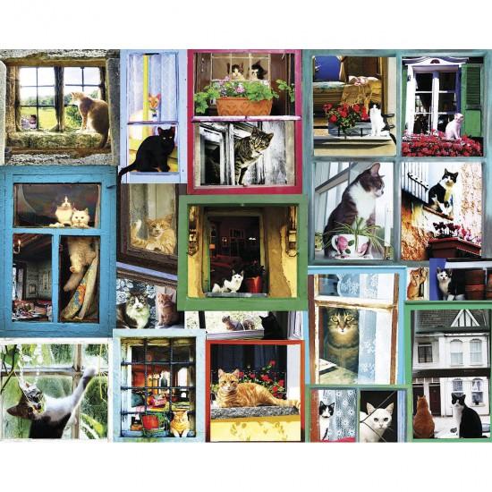 Puzzle 1000 pièces : Chats à la fenêtre - White-986