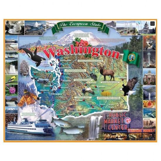 Puzzle 1000 pièces : Etat de Washington - White-936