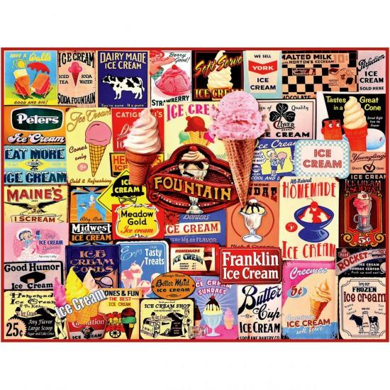 Puzzle 1000 pièces : Ice Cream Collage - White-1032