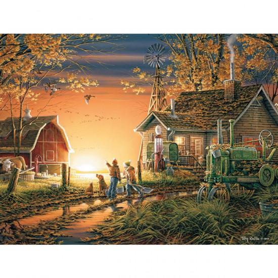 Puzzle 1000 pièces : Lever de soleil sur la campagne - White-913