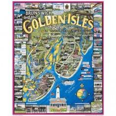 Puzzle 1000 pièces - Brunswick et les îles dorées, Georgie, USA
