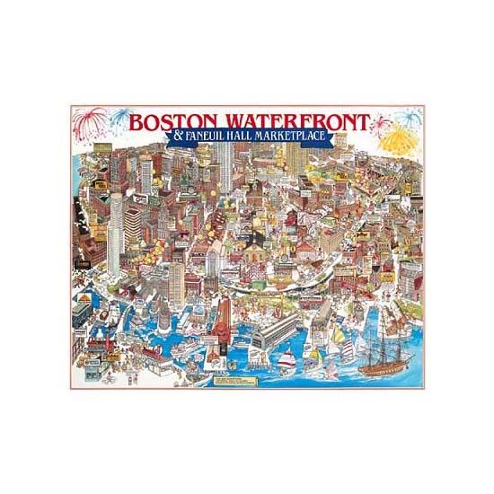 Puzzle 1000 pièces - Front de mer de Boston, Massachussetts - White-007