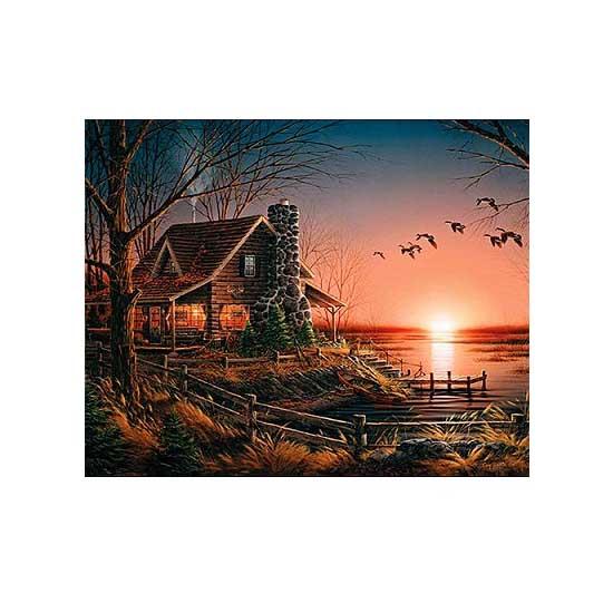 puzzle 1000 pi ces la maison au bord du lac puzzle white mountain puzzles rue des puzzles. Black Bedroom Furniture Sets. Home Design Ideas