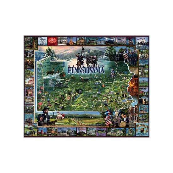 Puzzle 1000 pièces - L'histoire de la Pennsylvanie, USA - White-091