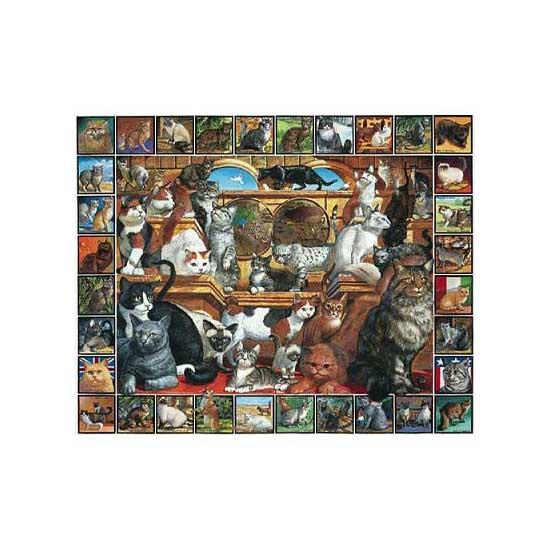 Puzzle 1000 pièces - Pêle mêle de chats - White-135