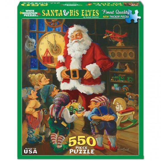 Puzzle 550 pièces : Père Noël et ses elfes - White-941