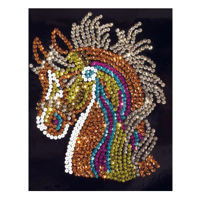 Cr a sequins cheval wooz 39 art le lutin rouge for Tableau en sequin
