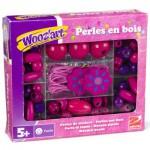 Perles en bois : Perles roses et violettes