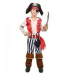 Déguisement pirate avec tunique rouge : 8/10 ans