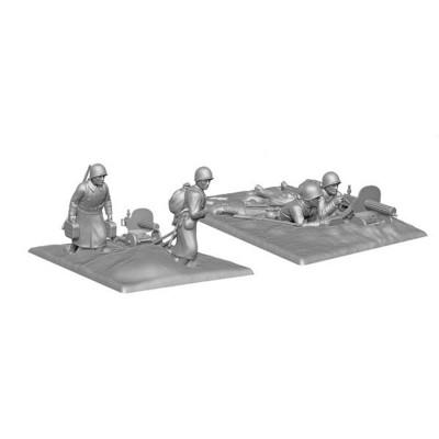 Figurines historiques 2ème guerre mondiale : Mitrailleurs Soviétiques Hiver - Zvezda-6220