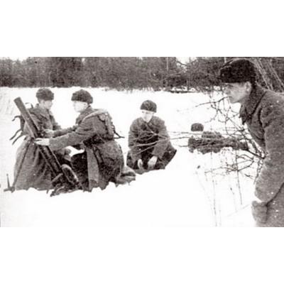 Figurines historiques 2ème guerre mondiale : Mortier Soviétique 82mm Hiver - Zvezda-6208